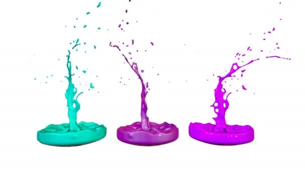 színes háttér folyadék. Zenei előadó festék játék zene kifröccsenésekor szimulációja. 3D fröccsenő folyadék. Festék ugrál 4k, fehér háttér. 1