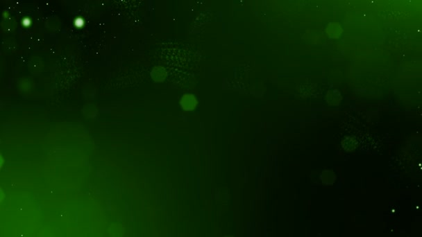4k 3d render of glow particles on dark green background as abstract seamless background with depth of field and bokeh. Science fiction or microcosm with dots. 3d Loop animation. 1