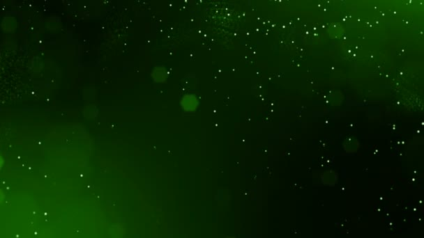 4k 3d render of glow particles on dark green background as abstract seamless background with depth of field and bokeh. Science fiction or microcosm with dots. 3d Loop animation. 2
