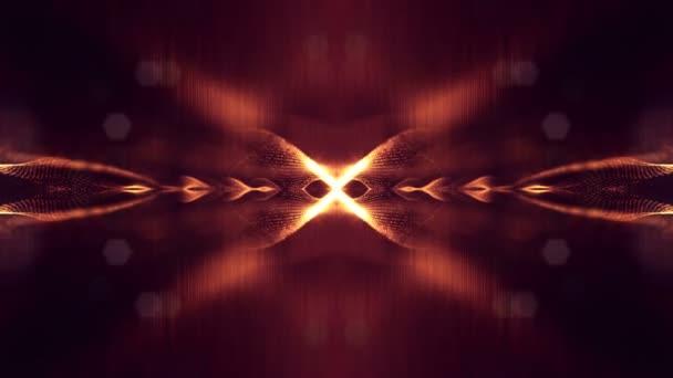 4 k plynulé animace s částicemi a hloubka ostrosti, bokeh a světelné efekty. Záře částice tvoří křivek, ploch, mřížky. Tajemný 3d virtuální prostor s částicemi. Červené Zlaté cyklických struktur v22