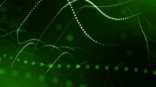 3D zelené pozadí s fantastickou světelná částice. Smyčky 3d animace s hloubkou ostrosti, světelné efekty. Moderní digitální pozadí. Zakřivené čáry 15