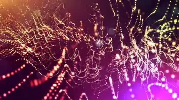 3D mehrfarbiger Hintergrund mit fantastischen Leuchtpartikeln. 3D-Animation mit Schärfentiefe, Lichteffekten. moderner digitaler Hintergrund. gekrümmte Linien 10