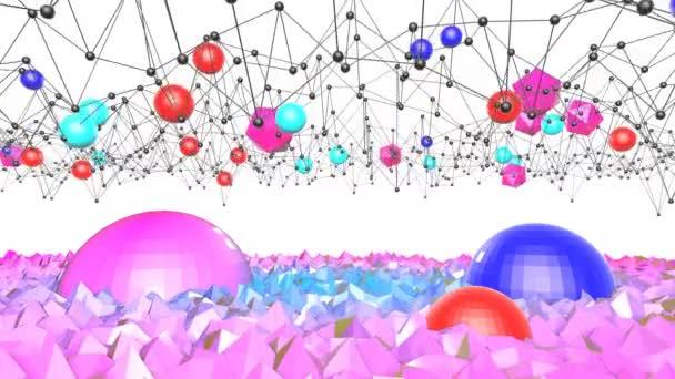 4k čisté low poly 3d animace ve smyčce. Bezproblémovou 3d pozadí v geometrické moderny nízké poly s světlé barvy přechodu modré červené. Letadlo s mřížky a potenciál a 3d objekty 6