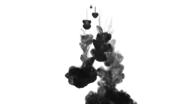 3d render of black ink dissolve in water, simulation of ink injection, vfx effects with luma matte. Black on white 5