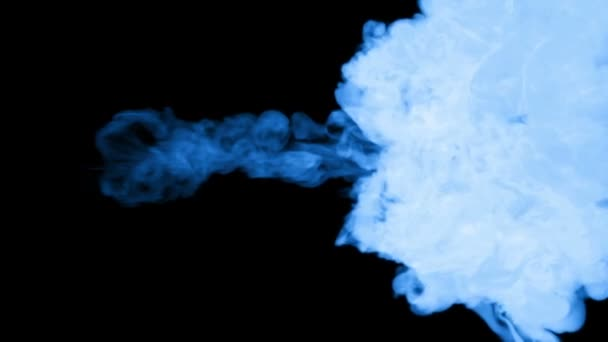 3d render of blue glow ink dissolve in water, simulation of ink injection, vfx effects with luma matte. Blue on black 4