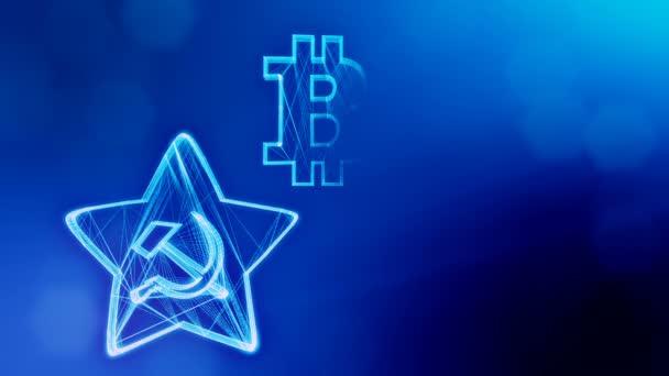logo bitcoin a znak SSSR. Finanční zázemí z částic záře jako vitrtual hologram. 3d lesklé smyčka animace s hloubkou pole, bokeh a kopie prostoru. Modrá v5