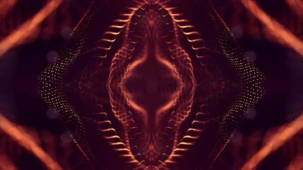 4 k bezproblémovou 3d abstraktní animace s částicemi záře. Složení s šumivé částice hloubka ostrosti, bokeh a světelné efekty. Částice tvoří křivek, ploch, mřížky. Zlatá červená v19