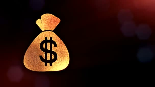 dollar sign and emblem of bag. Finance background of luminous particles. 3D loop animation with depth of field, bokeh and copy space for your text. Dark v3