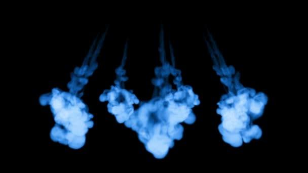 rendering 3D di inky iniezioni in acqua con mascherino luminanza. Inchiostro blu su sfondo nero 6