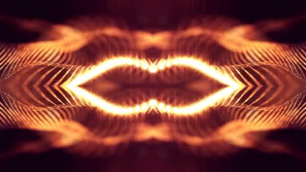 4 k abstraktní pozadí zářící zlatou červené částice s zářící bokeh jiskří. Temné kompozice s kmitajícími světelná částice. Science-fiction. Hladké animace smyčkou. 8