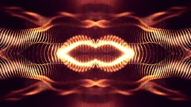 4 k abstraktní pozadí zářící zlatou červené částice s zářící bokeh jiskří. Temné kompozice s kmitajícími světelná částice. Science-fiction. Hladké animace smyčkou. 9