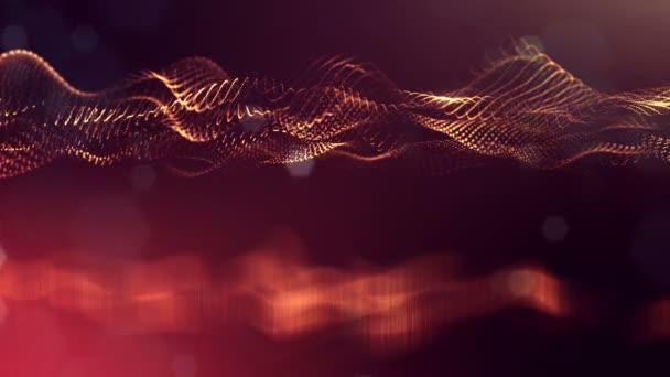 4 k abstraktní pozadí zářící zlatou červené částice s zářící bokeh jiskří. Temné kompozice s kmitajícími světelná částice. Science-fiction. Hladké animace smyčkou. 24