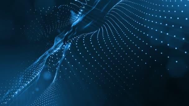 Temné kompozice s kmitajícími svítící modrá částice, které tvoří zvlněná plocha. Hladké animace smyčkou. Abstraktní pozadí zářící částic s zářící bokeh jiskří. science-fiction 1