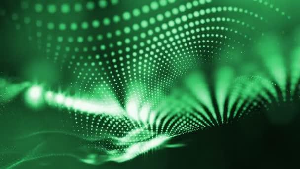 Temné kompozice s kmitajícími svítící zelené částice, které tvoří zvlněná plocha. Hladké animace smyčkou. Abstraktní pozadí zářící částic s zářící bokeh jiskří. science-fiction 5