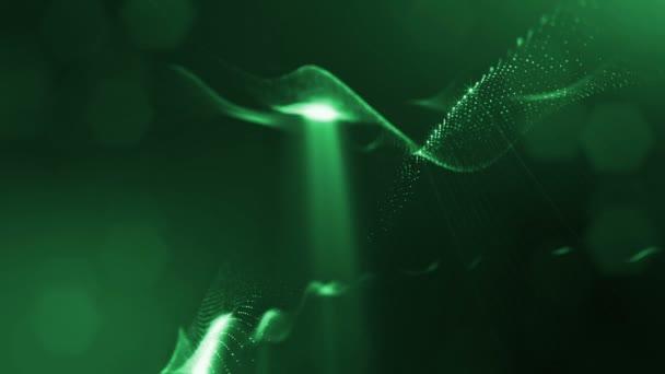 Temné kompozice s kmitajícími svítící zelené částice, které tvoří zvlněná plocha. Hladké animace smyčkou. Abstraktní pozadí zářící částic s zářící bokeh jiskří. science-fiction 7
