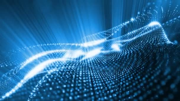 Temné kompozice s kmitajícími svítící modrá částice, které tvoří zvlněná plocha. Hladké animace smyčkou. Abstraktní pozadí zářící částic s zářící bokeh jiskří. science-fiction 4