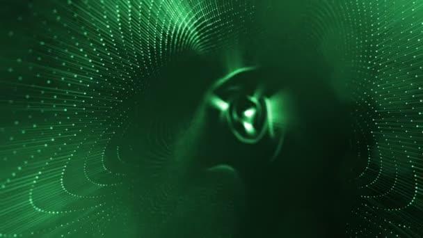 Temné kompozice s kmitajícími svítící zelené částice, které tvoří zvlněná plocha. Hladké animace smyčkou. Abstraktní pozadí zářící částic s zářící bokeh jiskří. science-fiction 10