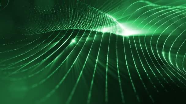 Temné kompozice s kmitajícími svítící zelené částice, které tvoří zvlněná plocha. Hladké animace smyčkou. Abstraktní pozadí zářící částic s zářící bokeh jiskří. science-fiction 15