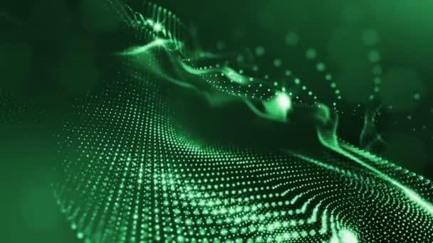 Temné kompozice s kmitajícími svítící zelené částice, které tvoří zvlněná plocha. Hladké animace smyčkou. Abstraktní pozadí zářící částic s zářící bokeh jiskří. science-fiction 17