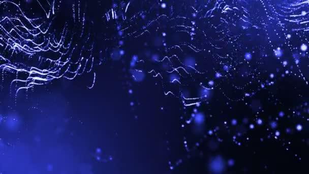 Dynamická pozadí abstraktní zářící částic s zářící bokeh jiskří. Tmavě modrá kompozice s kmitajícími světelná částice. Science-fiction. Hladké animace smyčkou. 1