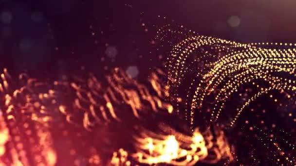 Dynamická pozadí abstraktní zářící částic s zářící bokeh jiskří. Tmavě zlatý červený složení s kmitajícími světelná částice. Science-fiction. Hladké animace smyčkou. 9