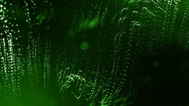 Dynamická pozadí abstraktní zářící částic s zářící bokeh jiskří. Tmavě zelená složení s kmitajícími světelná částice. Science-fiction. Hladké animace smyčkou. 4