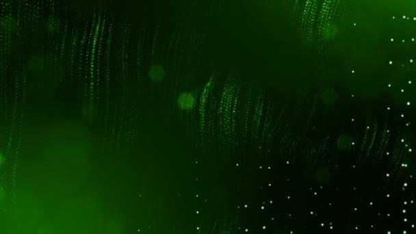 Dynamická pozadí abstraktní zářící částic s zářící bokeh jiskří. Tmavě zelená složení s kmitajícími světelná částice. Science-fiction. Hladké animace smyčkou. 6