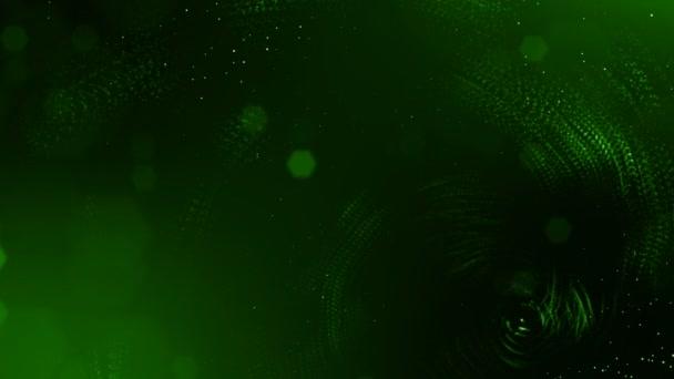 Dynamická pozadí abstraktní zářící částic s zářící bokeh jiskří. Tmavě zelená složení s kmitajícími světelná částice. Science-fiction. Hladké animace smyčkou. 9