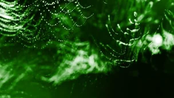 Dynamická pozadí abstraktní zářící částic s zářící bokeh jiskří. Tmavě zelená složení s kmitajícími světelná částice. Science-fiction. Hladké animace smyčkou. 11