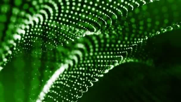Dynamická pozadí abstraktní zářící částic s zářící bokeh jiskří. Tmavě zelená složení s kmitajícími světelná částice. Science-fiction. Hladké animace smyčkou. 19