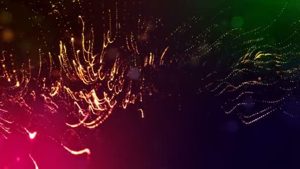 Dynamická pozadí abstraktní zářící částic s zářící bokeh jiskří. Tmavě multi barevné kompozice s kmitajícími světelná částice. Science-fiction. Hladké animace smyčkou. 7