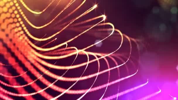 Dynamická pozadí abstraktní zářící částic s zářící bokeh jiskří. Tmavě multi barevné kompozice s kmitajícími světelná částice. Science-fiction. Hladké animace smyčkou. 26
