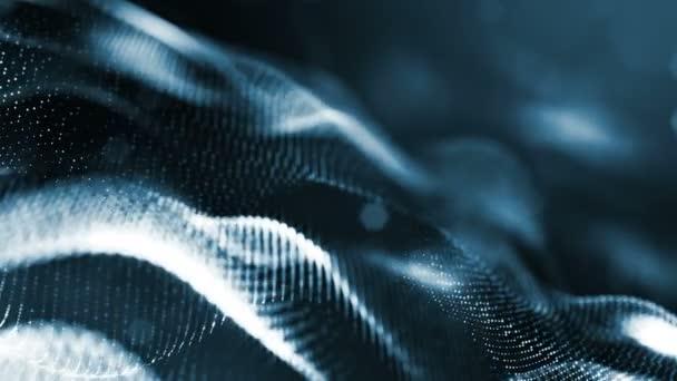 4 k abstraktní pozadí s hladkým smyčky animace zářící částic, zářící bokeh jiskří. Sci-Fi dark složení s kmitajícími světelná částice. Motion grafika 3