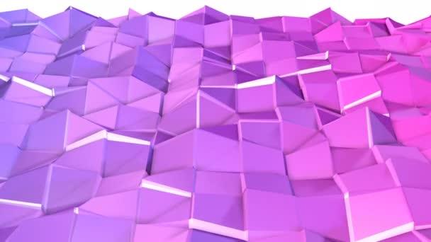Varrat nélküli 3D-s geometriai háttér modern geometrikus stílus alacsony poly színátmenet élénk színekkel. 4 k tiszta lila alacsony poly 3d animáció-hurok. Durian Dragon sík felületen 2