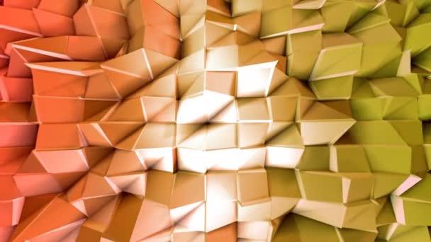 Varrat nélküli 3D-s geometriai háttér modern geometrikus stílus alacsony poly színátmenet élénk színekkel. 4 k tiszta vörös narancs alacsony poly 3d animáció-hurok. Durian Dragon sík felületen 10
