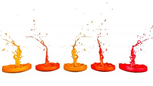 3D činí z rozstříknutí tekutiny na jar jako malování na zvuk reproduktoru. barevné 3d kompozici s tancem kapalina. Teplé odstíny 3
