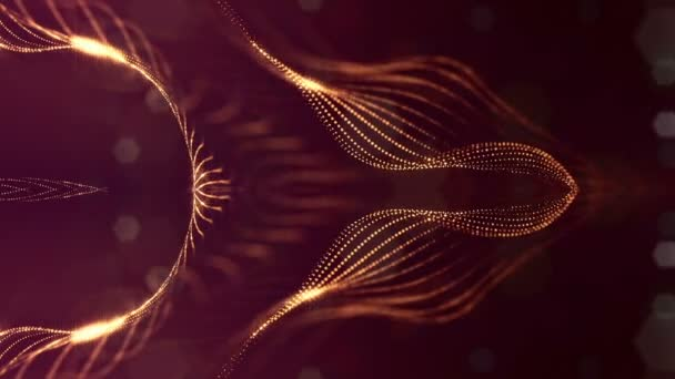 3d loop sci-fi animation with glow particles form rolling strings structures. Seamless footage as dark golden digital abstract background with particles, depth of field, bokeh. Motion graphics 18