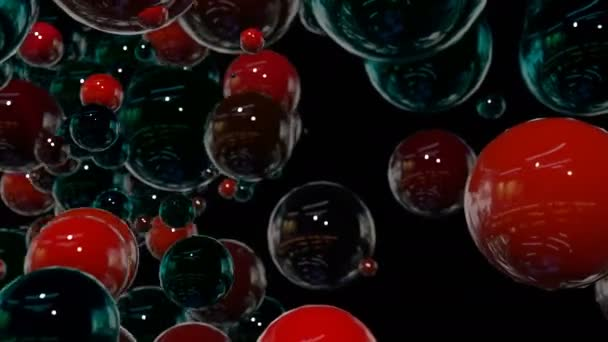 Motion graphics 3d looped animation as background in 4k with simple spheres  and depth of field  many black and red spheres swarm and move around, with  beautiful highlights and reflections