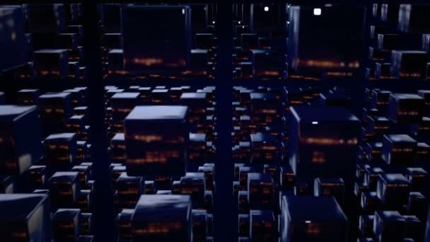 Motion grafika 3d smyčky animace jako tmavé pozadí v rozlišení 4k s jednoduché kostky a hloubku ostrosti. Temné kompozice s kostkami s mnoha atrakcemi. kroutit animace tmavé kostky 4