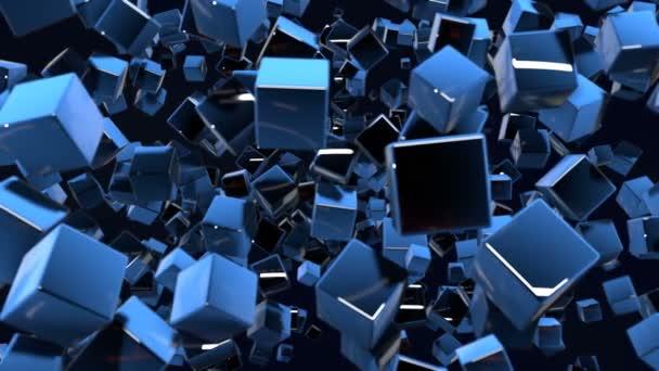 Temné kompozice s kostky s mnoha světel a přesouvání fokusu. Motion grafika 3d smyčky animace jako tmavé pozadí v rozlišení 4k s jednoduché kostky a hloubku ostrosti. 7
