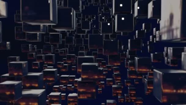 Motion grafika 3d smyčky animace jako tmavé pozadí v rozlišení 4k s jednoduchou kostky a to zaměřit pak tam a zpět, Hloubka ostrosti, bokeh efekty. Složení tmavých manévrovací s kostky 6