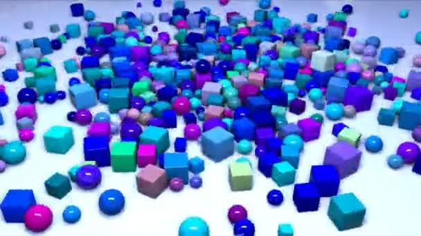 sok gömb és kocka felülről esik a keret a gépen, és repülni mentén. Érdekes 3d kompozíció, az egyszerű geometriai objektumok, 4k végtelenített sima animáció. Árnyalatú kék