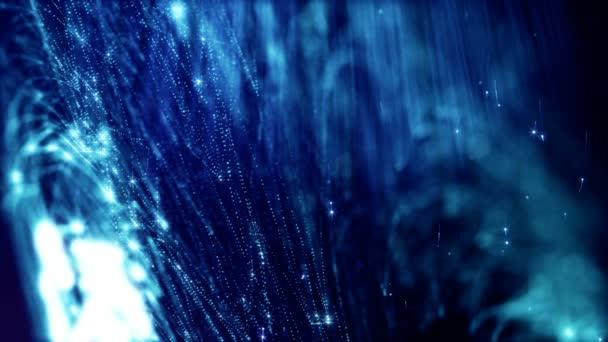 3D hurok absztrakt varratmentes háttérben fény részecskék, mélységélesség, bokeh. Kék fény részecskék, mint a karácsony vagy újév garland fluing a levegőben, vagy hogy kígyózik struktúrák szikra. Kék 2