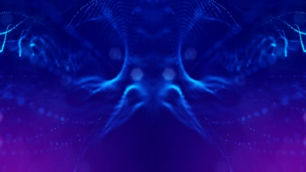 4k interesting abstract looped backgrounds with luminous particles with  depth of field  suitable for holiday presentations, as a bright interesting  background with light effects  Blue lines 3