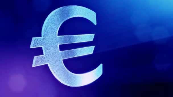 Animation icon or emblem of Euro Logo. Financial background made of glow particles as vitrtual hologram. Shiny 3D loop animation with depth of field, bokeh and copy space. Blue v5