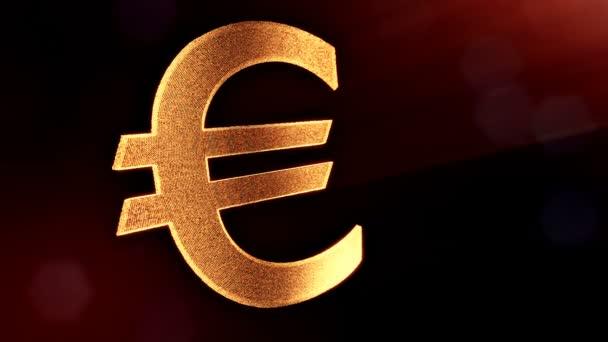 Ikonu animace nebo znak Euro Logo. Finanční zázemí z částic záře jako vitrtual hologram. 3d lesklé smyčka animace s hloubkou pole, bokeh a kopie prostoru. Zlatý v5