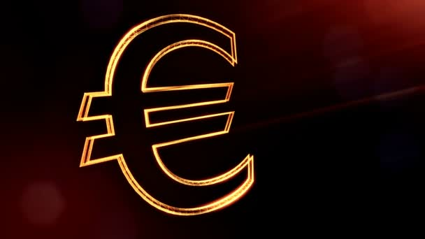 Animation icon or emblem of Euro Logo. Financial background made of glow particles as vitrtual hologram. Shiny 3D loop animation with depth of field, bokeh and copy space.. Golden v5