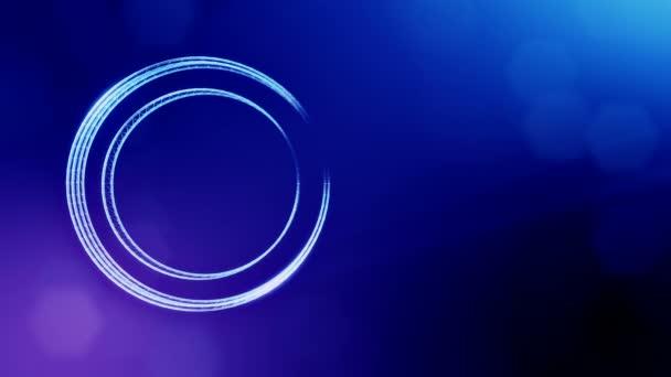 kulatá ikona s kopie prostoru. Pozadí z částic záře jako vitrtual hologram. 3D plynulé animace s hloubkou pole, bokeh a kopie prostoru. Modrá v5