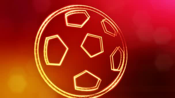 ikon a futball-labda. Háttérben fény részecskék mint vitrtual hologram készült. 3D animáció zökkenőmentes mélység mező, bokeh és másolás. Piros v5