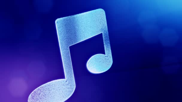 icon of music. Background made of glow particles as vitrtual hologram. 3D seamless animation with depth of field, bokeh and copy space. Blue v5